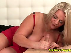 Busty mature comm in muth MILF milking cock POV