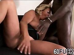 Blonde mature woman fucks first BBC