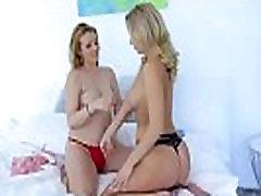 Lesbian duett enjoy huge toys