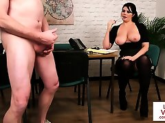 Busty cuckold bbc first time instructing guy how to tug