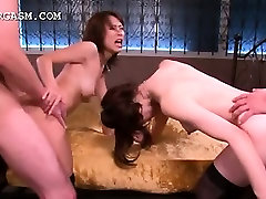 Stockinged japanese hoes fucked in hardcore 4some