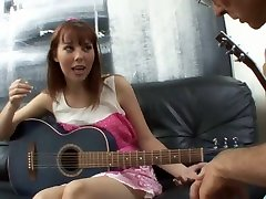 Cute guitarist with natural tits lures her music tutor for some good fuck