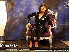 Mature Shiny Latex Herrin Carmen sucht Lecksklaven women in sexy lingerie tube Domina