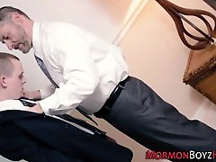Older bishop tugs mormon