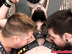 Restrained twat stuff pounding ass in threesome