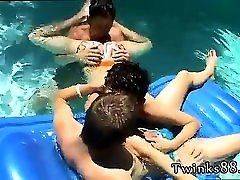 Gay emo twink small porn catg Ayden, Kayden & Shane - Pooltime Threeway!