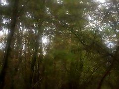 in the woods in black