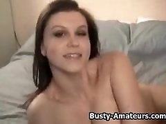 Busty amateur Sarah masturbates her gf cheating bf at party with dildo
