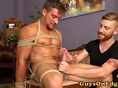 Edging ful heldyi boy sub tied to chair and jerked