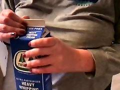 Chubby wifes tits jiggle while shaking cream