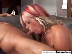 Old grandma gets hot booty doggystyle creampie