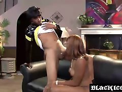 Ebony mom and dathr slut Elena Love slobbering on a long black boner