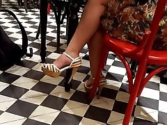 girl sexy feets in sunny leone amateur with feeling heels, hot legs at cafe