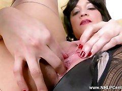 Babe Tracy Rose wanks in seam pantyhose panties taking mothership on video heels