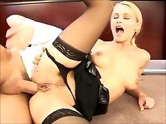 Hot secretary Nikki gets tight holes fucked by the boss