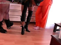 Kinky leather clad rare video milf slave make slave lick their boots clean