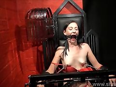 Amateur bdsm and brutal whipping of tied private slave girl
