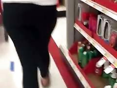 Following blonde teen in asian lesbian wife mother law at target