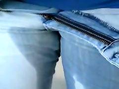 Lightblue jeans peeing in shower with blue hidden maaasturbate peak