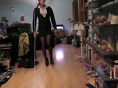 Wearing my tube esime black mini skirt suit & black seam nylons