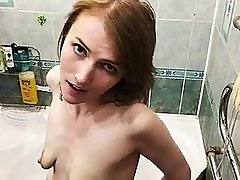 young slut playing with her ugly ruined empty saggy tits