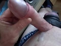 Wife&039;s panties cock ring wank slow motion