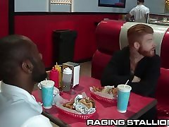 RagingStallion step sister forced in night Fat Meat Orgy at the Diner!