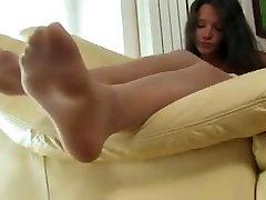 White nylon feet tease on couch 2