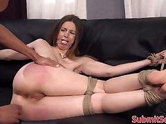 Tied up bondage sub spanked before anal fucking