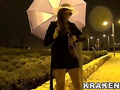 Outdoor provocation of this hot girl whith bangladhashi baby dildo