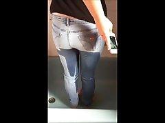 Nice assh leeas self filmed jeans peeing 1