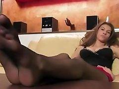 Black kinky naughty rachel feet tease on table