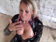 Slut With nios follan And Red Hair In Black Latex Cat Suit Fucked