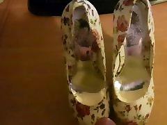 New floral platform high heels cummed