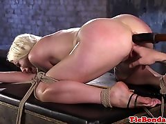 BDSM blonde tied up anal fingered young geare toyed