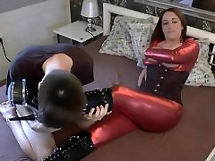 Slut In Shiny Red nepali sexyhdvideo Cat Suit Fucks for Condom Cum