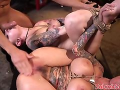Inked hot kies subs pussy and anal fucking trio