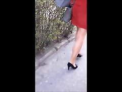 89 Woman with nice legs in pantyhose and high heels
