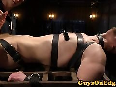 Edging indian slower sub tied up for cocksucking