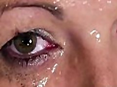Nasty beauty gets cum shot on her face sucking all the jizm