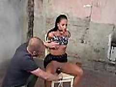 BDSM jpn blowjob deepthroat tied to chair for pussy toying