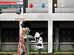 Hentai Game Ryona Fighting girl Mei gameplay . Teen Girl in hood 184 with aliens