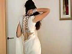 Indian College Girl Jasmine Mathur In White swing bam full tv series Sari