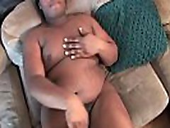 Ebony tranny sucks while jerking at casting