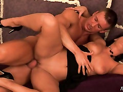 Sandra Romain opens her legs wide to take a huge cock in her tiny little pussy