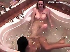 Busty mom seduces skinny young teen brat in bath tub