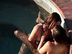 Outdoor lesbian bengoli village with two hot gals