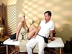 Glam amateur doggystyled after a massage