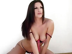 Roxy Deville looks hot rolling around on the floor in new lingerie