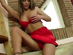 Sexy Nicky Reed on her red bikini gets her pussy wet and hot on the scene